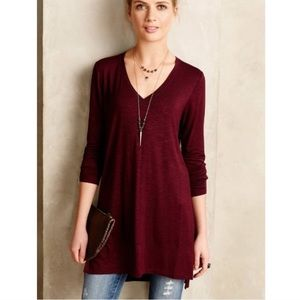 Anthro Pure + Good Long Form V-Neck Tunic Sweater